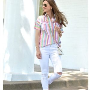 J.Crew Pop Over Button Down Shirt In Candy Stripe
